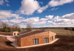 Wide angle image of outdoor accessible holiday home